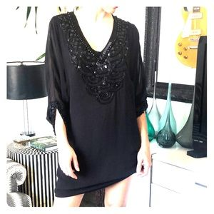 French connection black beaded tunic party dress
